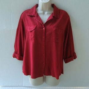 womens large red pin-striped buttoned top
